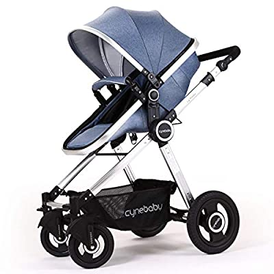 Baby Stroller Bassinet Pram Carriage Stroller - Cynebaby All Terrain Vista City Select Pushchair Stroller Compact Convertible Luxury Strollers add Foot Cover (Mature Blue)