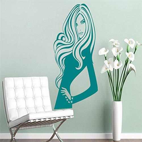 Sexy femme salon stickers muraux filles chambre décoration coiffure cosmétiques intérieur autocollants vinyle salon de coiffure DIY58x58cm