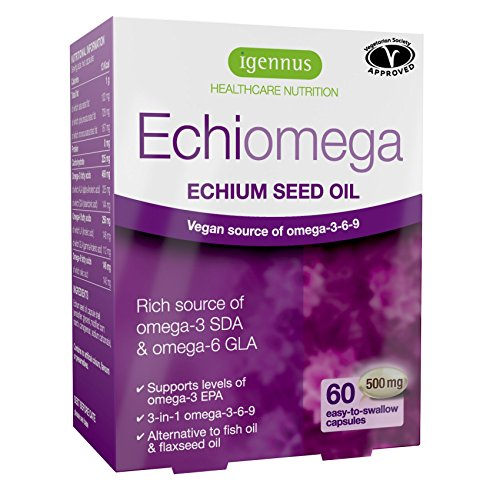Echiomega vegetarian & vegan omega-3-6-9 capsules, echium seed oil plant-based omega-3, 60 capsules
