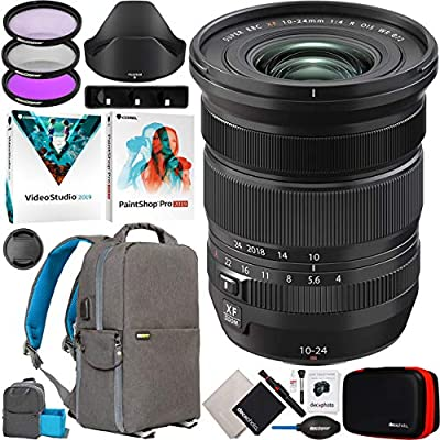Fujinon XF 10-24mm F4 R OIS WR Ultra-Wide Angle Zoom Lens for X Series Mirrorless Digital Cameras 16666753 Bundle with Deco Gear Photography Backpack + UV CPL FLD Filter Kit + Software & Accessories by FUJIFILM