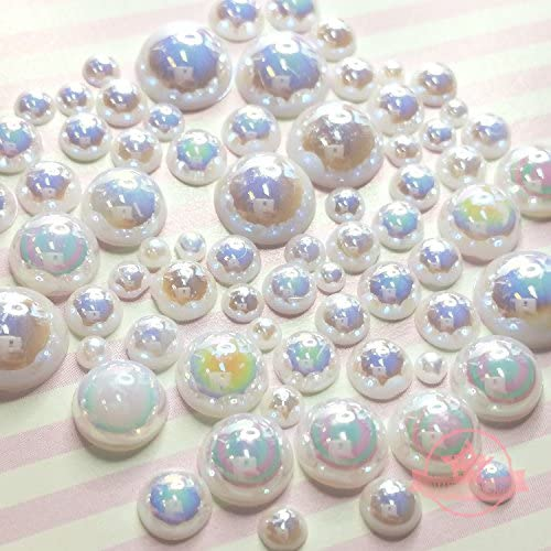 400 pcs 2mm 10mm White resin faux round Shiny Pearls Flatback Mix Size Cabochonship with FREE product image