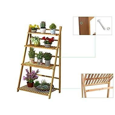 Polar Aurora Plant Flower Stand Rack Shelf 4-Tier Bamboo Foldable Pot Racks Planter Organizer Display Shelves