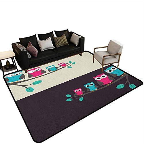 MsShe Slaapkamer tapijt Kwekerij, Leuke Uilen met Bloemen Kleurrijke Cirkels Abstract Animal Design, Bruin Varen Groen Lichtgroen