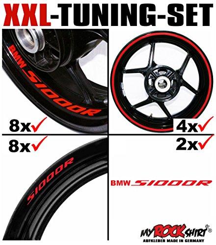 myrockshirt XXL-Tuning Set für BMW S1000R V3 1x Komplettsatz Felgenrandaufkleber/Rim Stripes/Felgenstreifen + 8 x Innerand-Felgen