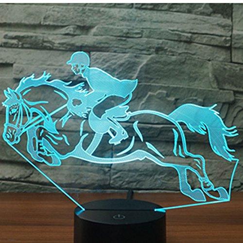 Jinson well 3D pferd Nachtlicht Lampe optische Nacht licht Illusion 7 Farbwechsel Touch Switch Tisch Schreibtisch Dekoration Lampen perfekte Weihnachtsgeschenk mit Acryl Flat ABS Base USB Spielzeug