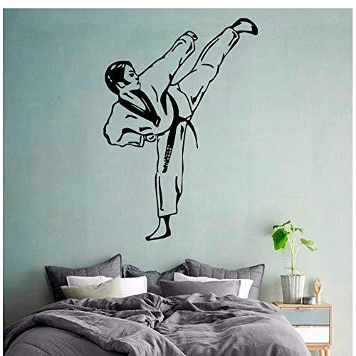 MINGKK - Adhesivo decorativo para pared, diseño de taekwondo, para niño, combatiente, gimnasio, casa, interior, arte, vinilo adhesivo para niños, vivero, habitación de bebé, 80 x 56 cm