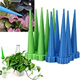 JTW- Lot of 12 Pcs Get Straight to The Root - Automatic Garden Cone Watering Spike Plant Flower Waterers Bottle Irrigation Plastic (L13 cm,dai 3cm) Green Blue Color