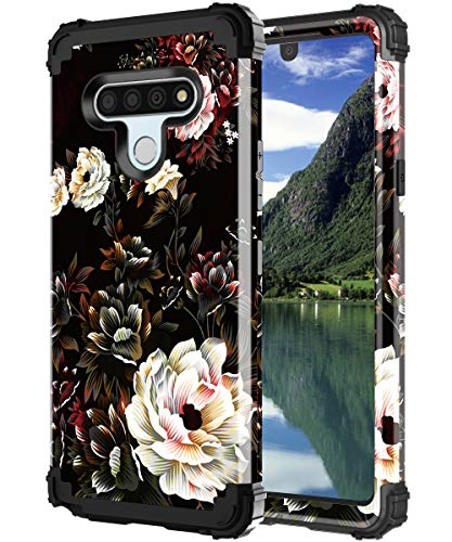 Lontect for LG Stylo 6 Case Floral Shockproof Heavy Duty 3 in 1 Hybrid Sturdy Protective Phone Cover Case for LG Stylo 6 2020, White Flower/Black