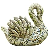 LXDDP Canasta de Flores de Cisne Vintage Jarrón de Piedra grieta Alas de Plumas Grises Canasta de macetero de Cisne Pintado Azul pájaro Dulce