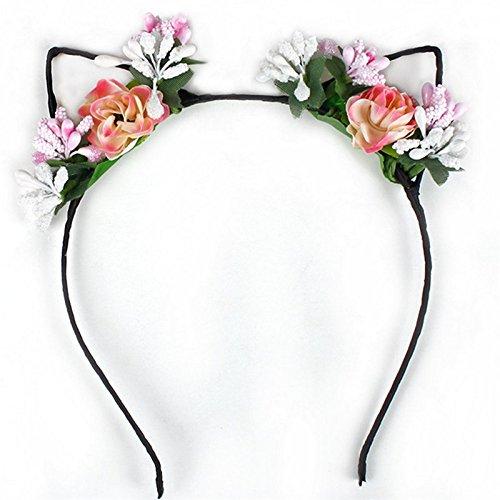 WeiMay Cintas para el pelo Tela Flor Orejas de gato Diademas para los oídos Diadema para el oído Aro del pelo Elegante Mujeres Chica Hairband Accesorios para el cabello(Rosa)