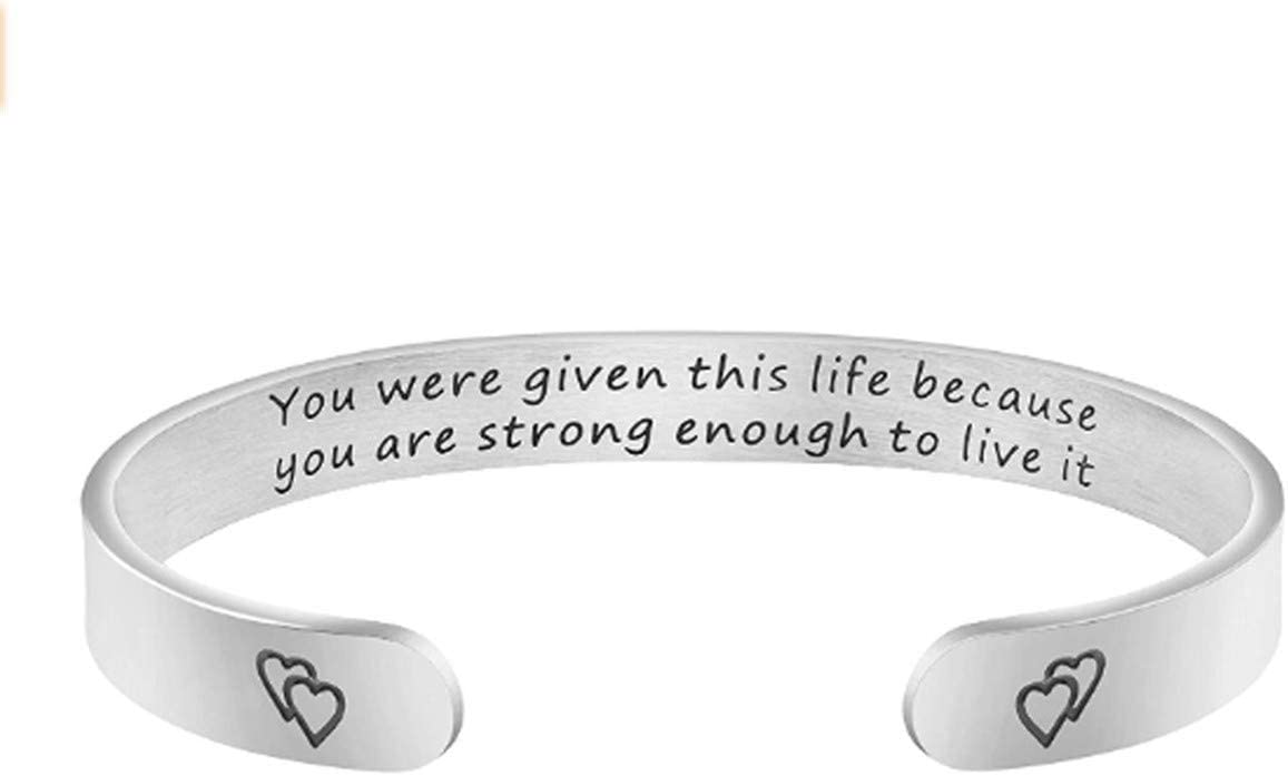 CH01 Inspirational Bracelets for Women Mom Personalized Gift for Her Cuff Bangle Birthday Jewelry Gifts