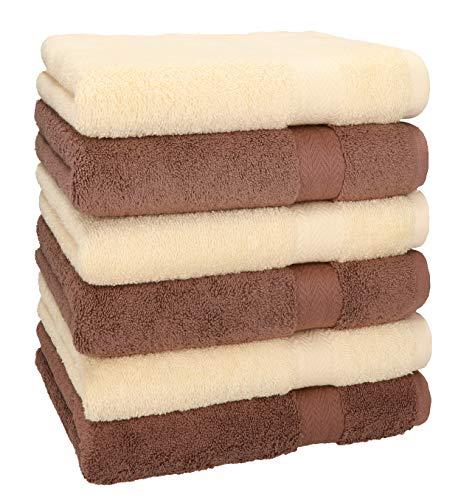Betz 6 Toallas Premium 100% algodón tamaño 50x100cm Beige y marrón