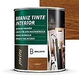 BARNIZ TINTE INTERIOR BRILLANTE, (6 COLORES), Barniz madera, Protege la madera, Decora y embellece la madera. (750 ml, ROBLE)