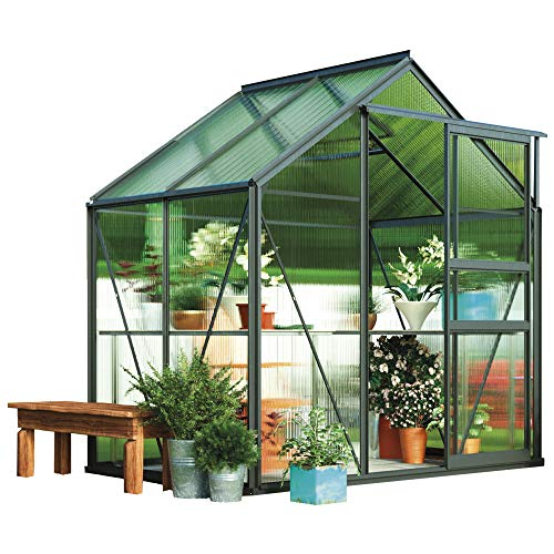 Garden Grow Polycarbonate Greenhouse Large Walk-in Garden Growhouse, Rust-proof Frame, Sliding Door & Supported Twin Wall Panels with Steel Base 6x4 ft (Grey)