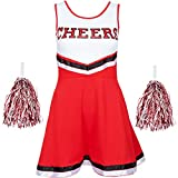 Redstar Fancy Dress - Damen Cheerleader-Kostüm - Uniform mit Pompons - Halloween, American High...