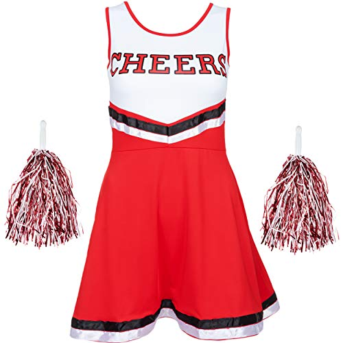 Redstar Fancy Dress - Damen Cheerleader-Kostüm - Uniform mit Pompons - Halloween, American High School - 6 Größen 34-44 - Rot - M