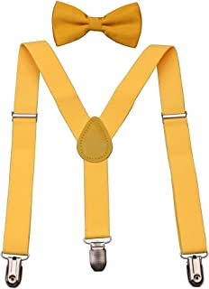 Kids Boys Suspenders Bow Tie Set - Adjustable Elastic Classic Accessories for Toddler,children 1 to 13 Year