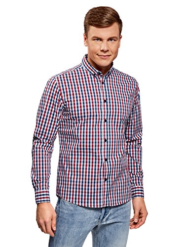 oodji Ultra Hombre Camisa Entallada a Cuadros, Rojo, сm 41 / ES 50 / M