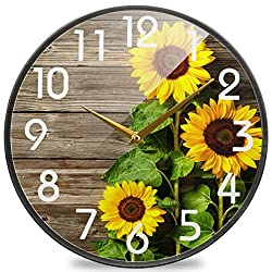 Naanle Stylish 3D Beautiful Sunflowers Vintage Wood Print Round Wall Clock, 12 Inch Silent Battery Operated Quartz Analog Quiet Desk Clock for Home,Office,School