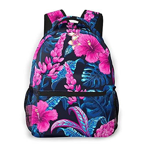 Bokueay Mochila informal de flores tropicales Mochila de ocio de moda Mochila para adolescentes Mochila de viaje con estampado