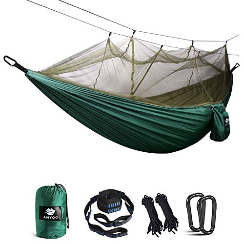 Anyoo Camping Hammock with Net Nylon Parachute Ultra Light Single Hammock for Hiking Backpacking Beach Adventure