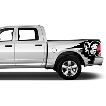 Stickers Car Wrap Truck Car Body Graphics Dual Racing Stripes IchthusGraphics Dodge Ram 1500 Hood Decals Compatible with HEMI 5.7 Sport SRT RT Rebel Accessories Blackout Vinyl