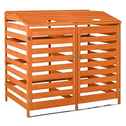 Outsunny Mülltonnenbox Mülltonnecontainer mit Fronttüren Mülltonnenverkleidung für Zwei 240L-Tonnen Massivholz Orange 131L x 85B x 125H cm