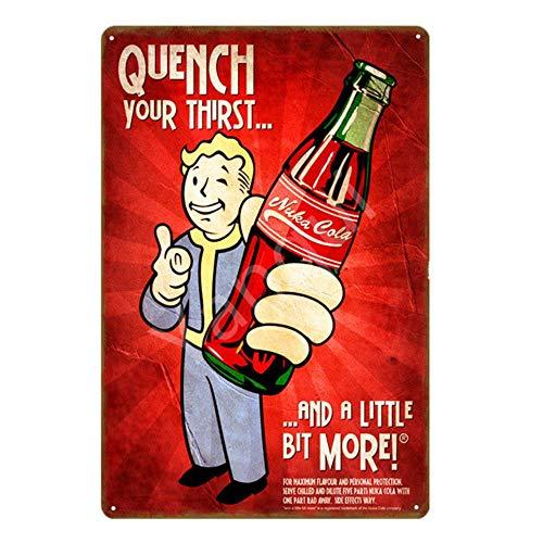 ShAwng Vintage Fallout 3 4 Juego de Carteles de Chapa metálicos Wall Art Print Stickers para Pub Bar Club Shop Decoración del hogar Nuka Cola Poster YN183-YB0001B, 20x30cm