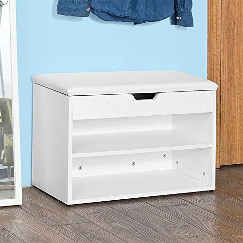 LXDLJ 2 Tier Schuhregal Small,Holzbank für Garderobe Organizer Aufbewahrungsbox Schrank Schrank Ständer Regal mit Sitz | Weißes Holz und Kissen