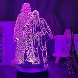 YOUPING Lámpara de ilusión 3D LED luz nocturna Star Wars Chew108A y Han Solo...