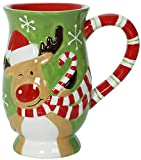 Reindeer Escape - Christmas Themed Ceramic Glossy 17 oz Mug With Large Handle (Microwave and Dishwasher Safe)