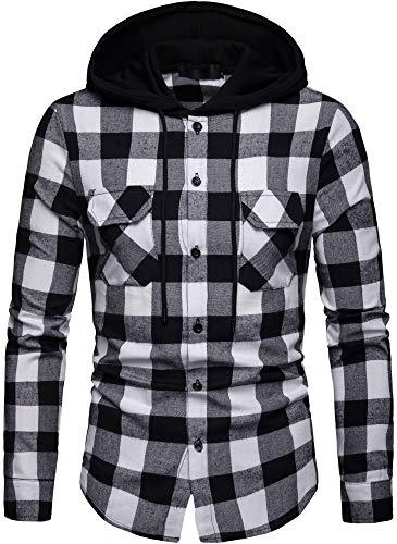 Iris Sprite - Camicia felpa combinata con cappuccio, da uomo, motivo a quadretti, con bottoni, a maniche lunghe Nero e Bianco - A115 XXL