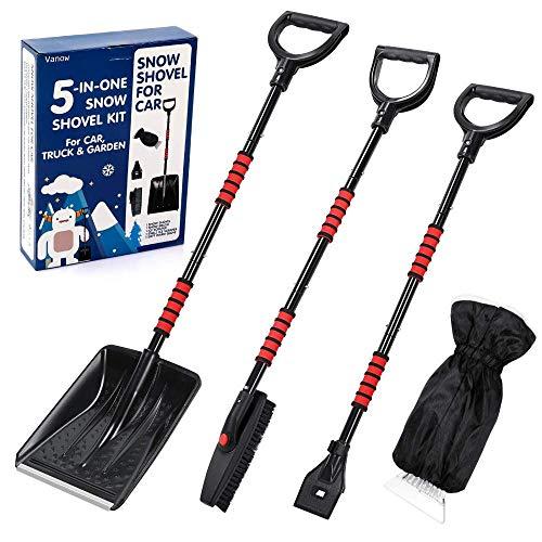 Kit de pala de nieve 5 en 1 plegable para coche, pala de nieve con rasqueta de hielo y cepillo de nieve, portátil y para emergencias, para coche, camión, camping y actividades al aire libre