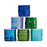 PandaHallElite 6mm (1/4 di Pollice) 6 Rotoli 6 Colori Lustrini Paillettes Piatte Trim Paillette Spool String per Dress Embellish Headband (5m / Roll, Blue Series)