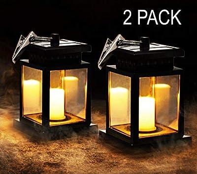 MakeABC Solar Lantern Flickering Candles Solar-Light Umbrella Waterproof Outdoor Hanging Lights Candle