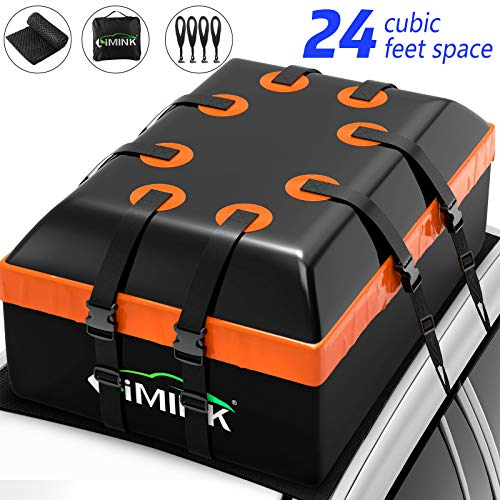 LIMINK Roof Rack Cargo Carrier Bag, 24 Cubic Feet Travel Roof Bag PVC Waterproof Rooftop Cargo Carrier Boxes with Anti-Slip Mat 8 Super Wide Straps 4 Door Hooks for Any Cars