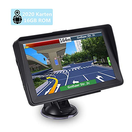 Navigationsgerät für Auto, Aonerex 16GB 7 Zoll GPS Navigation Touchscreen für LKW PKW KFZ Navi mit POI Blitzerwarnung Sprachführung Fahrspur 2020 Navigationssystem Lebenslang Kostenloses Kartenupdate