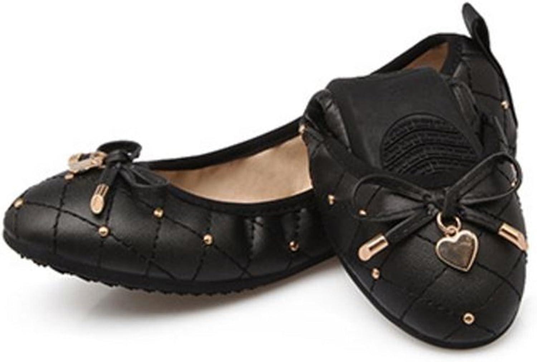 PRETTYHOMEL Womens Foldable Soft Pointed Toe Ballet Flats Rhinestone Comfort Slip on Flat shoes