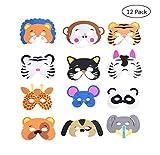 Yongbest Kinder Schaum Tiere Masken,12 Stück Schaum Masken Dschungel Tier Masken Tiermasken Kinder...