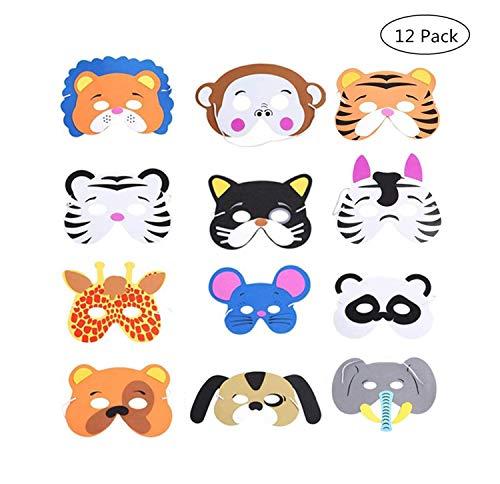 Yongbest Kinder Schaum Tiere Masken,12 Stück Schaum Masken Dschungel Tier Masken Tiermasken Kinder für Jungen Mädchen Geburtstag Halloween Christmas Party Supplies
