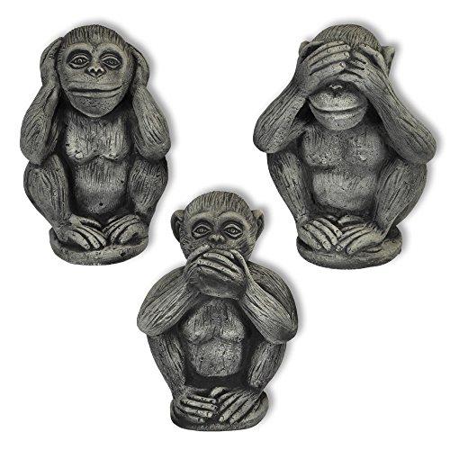 Wilai 3 Affen Set massiv Nichts sehen hören Sagen Glücksbringer Skulptur