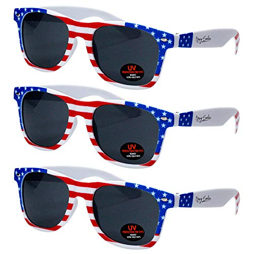 USA Merchant | Sunglasses for Men, Women & Kids by Ray Solée- 3 Pack of Tinted Lenses with UVA & UVB Protection (Stars & Stripes 3 Pack, Black)