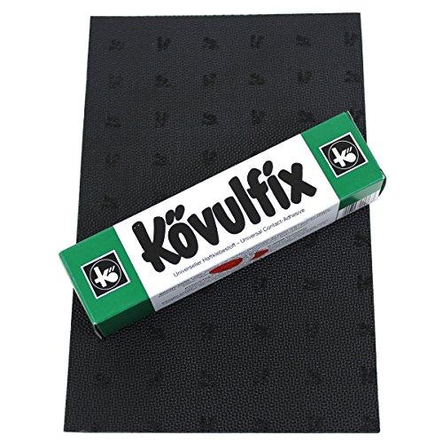 Langlauf Caoutchouc Talons Drap Kit pour Bricolage de réparation de Chaussures - 1 gîte Assiette 160 x 250 mm Noir et 1 Tube Chaussure Colle 60g Haute Qualité Produits fabriqué en Allemagne