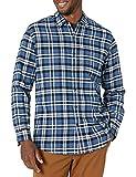 Amazon Essentials - Camisa de franela a cuadros de manga larga y ajuste regular para hombre, Azul (Blue Plaid), US XL (EU XL - XXL)