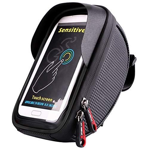 Fahrradlenker-Tasche, wasserdichte Fahrradhalterung mit großem Fassungsvermögen und Touchscreen, geeignet für Smartphones unter 6 Zoll