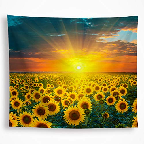 VAKADO Sunflower Tapestry Wall Hanging Yellow Sunset Flower Ocean Under The Sunshine Nature Scene Picture Wall Art Decor Blanket for Bedroom Livingroom Dorm 59'x82.6'
