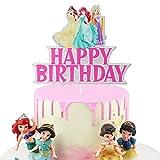 AERZETIX Princess Cake Topper Birthday Crown Belle Rapunzel Ariel Pink Castle Themed Decor for Girls Sign Party Decorations Supplies