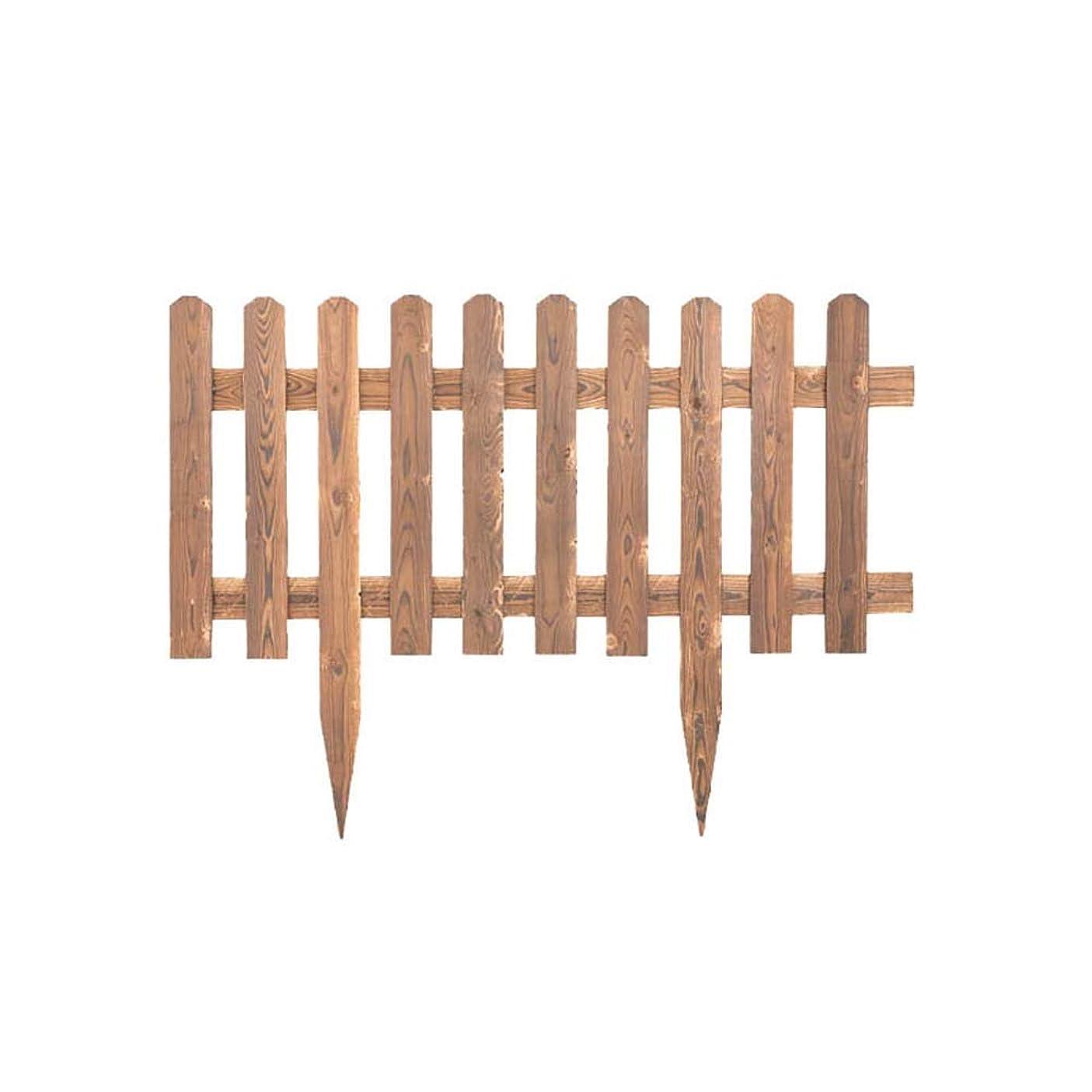 YYFANG 木製フェンス先のとがった杭の設計防水塀の防蝕プロセス花壇の装飾の高温炭化、4サイズ (Color : Brown, Size : 120x90cm)