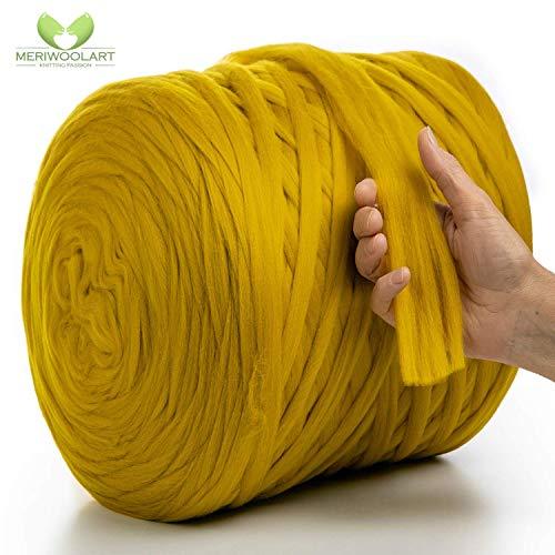MeriWoolArt 100% Merinowolle zum Stricken & Häkeln mit 2 cm dickem Garn   Dicke Merino Wolle für XXL Schal, Decke & Kissen (Tabaco, 100g)