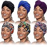 SATINIOR 6 Pieces Women African Turban Flower Knot Pre-Tied Bonnet Beanie Cap Headwrap (Pure Flower Color)